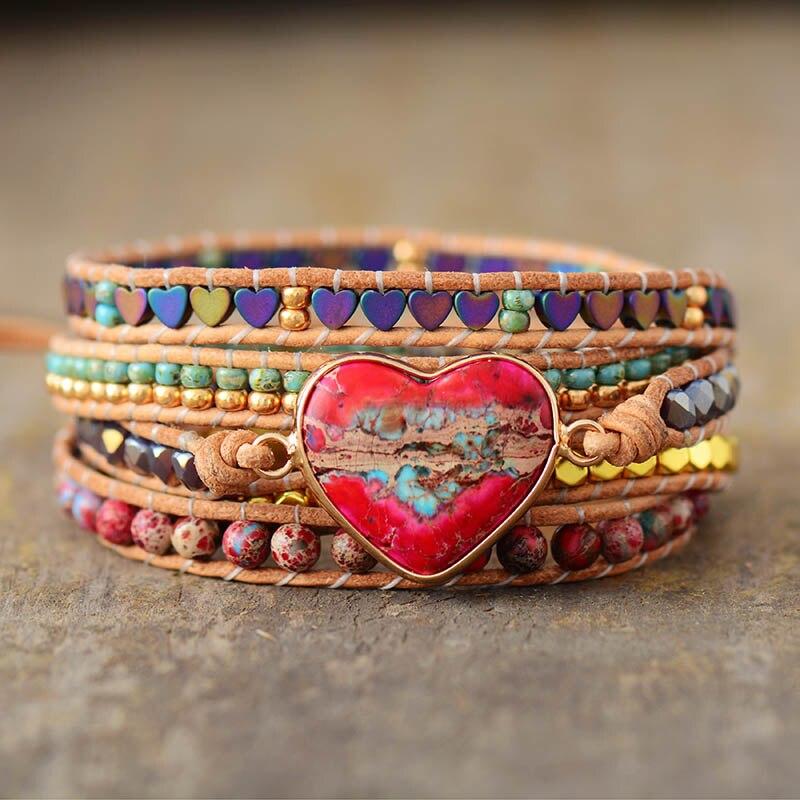 bracelet enroulable en pierres coeur pour femme