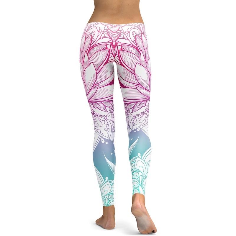Legging Sport Gym Yoga Fleur de Lotus