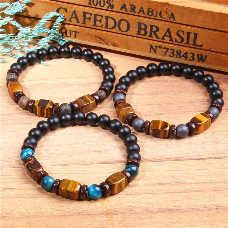 bijou bracelet en pierres semi-précieuses oeil de tigre pour homme