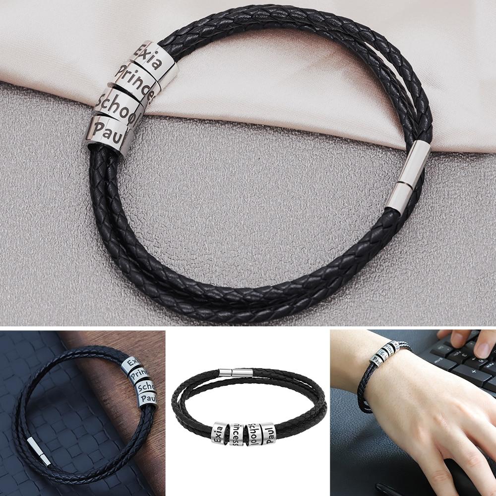 Bracelet PRENOMS en cuir tressé