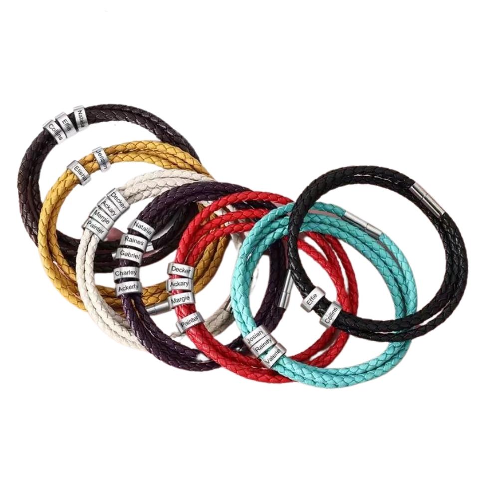 Bracelet PRENOMS en cuir tressé (1)