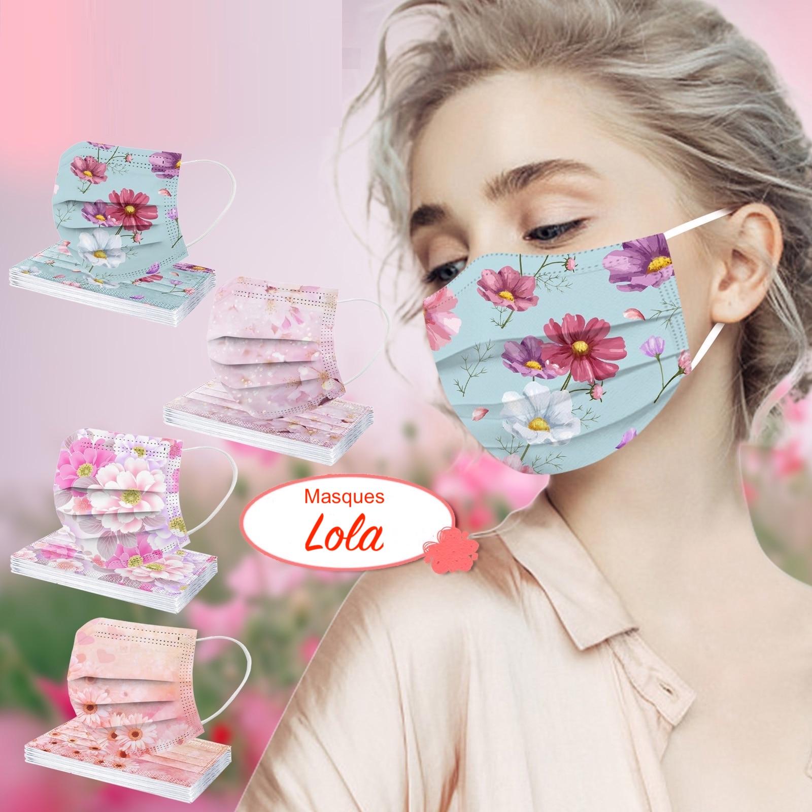 masques chirurgicaux colorés fleurs pour adulte