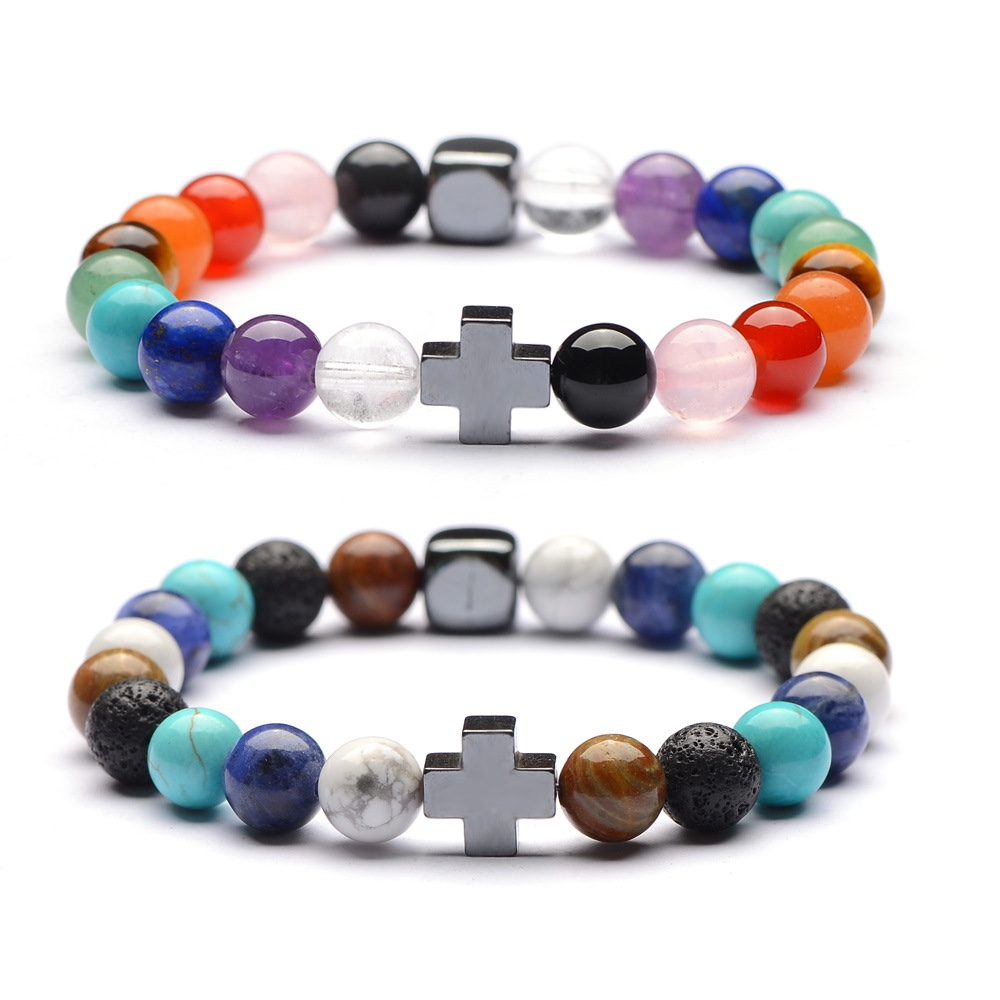 Bracelet Perles Multicolores Croix Bijoux Cadeau Femme Pierres