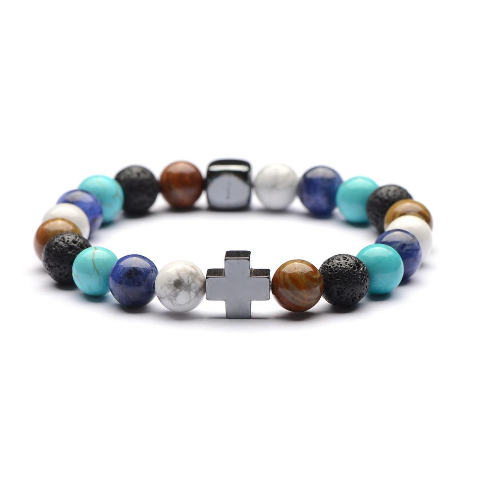 Bracelet Perles Multicolores Croix