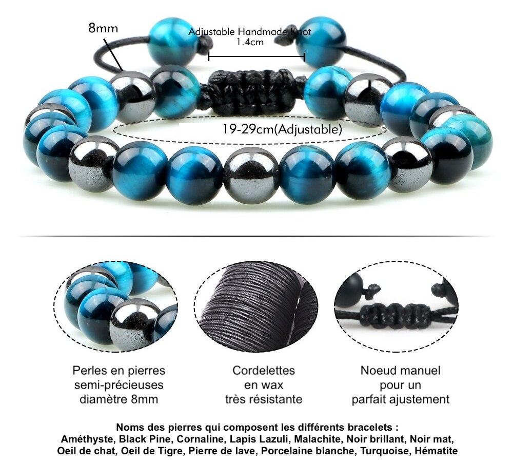 bracelet homme en perles de pierres semi précieuses