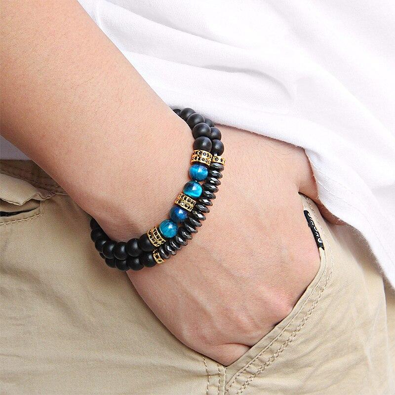 bracelet homme 2 pièces en perles pierres semi précieuses