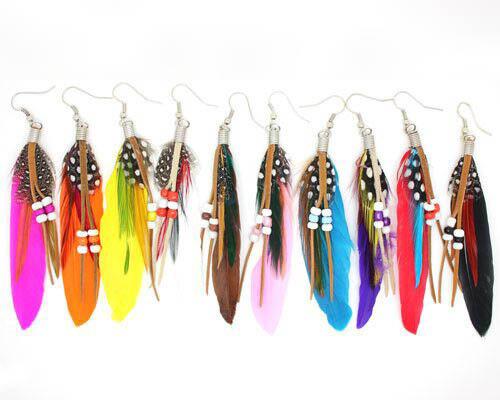 boucle oreille plumes bijoux fantaisie femme ethnique