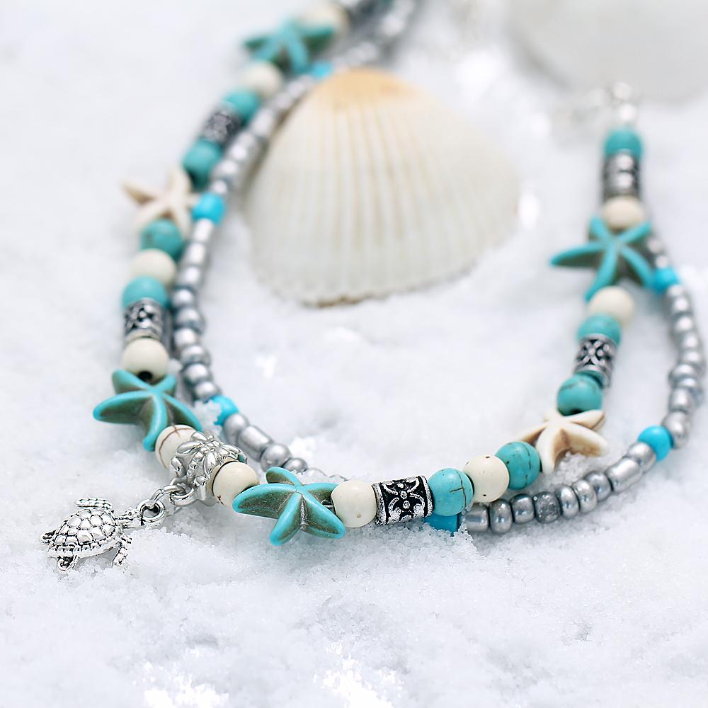 bracelet cheville pied poignet anklet turquoise bohème chic