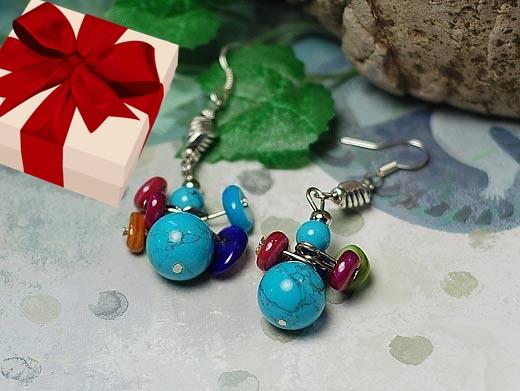 boucles d'oreille perles earrings argent silver