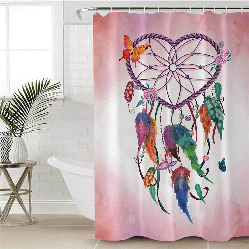 Rideau de douche zen mandala attrape-rêve boho-chic
