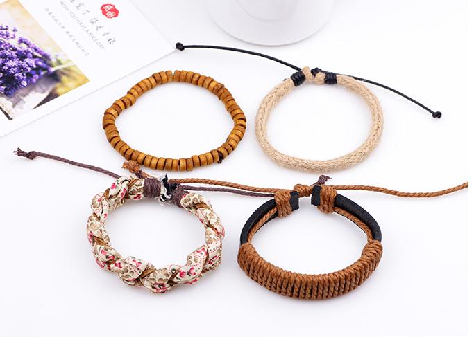 bracelet pour femme en corde et tissu