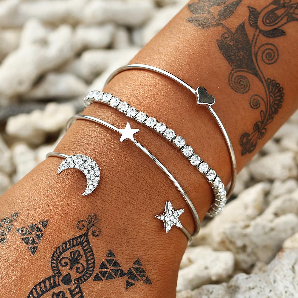 Bracelet manchette Lune or et argent
