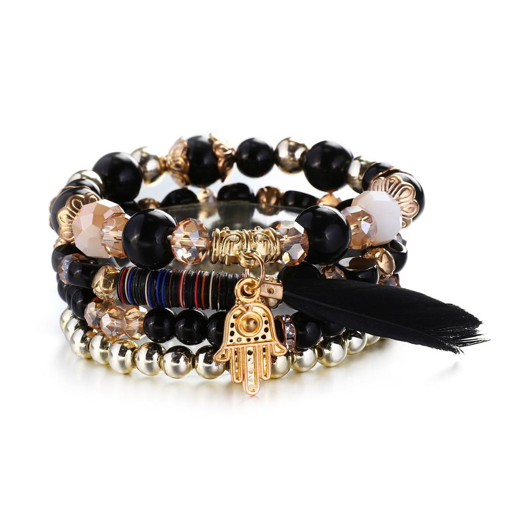 bracelet en perles style bohème-chic pour femme