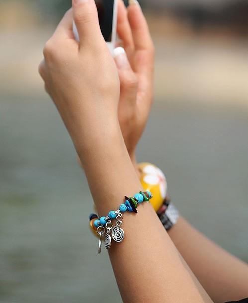 Bracelet Blue Charming bijou fantaisie femme fait main