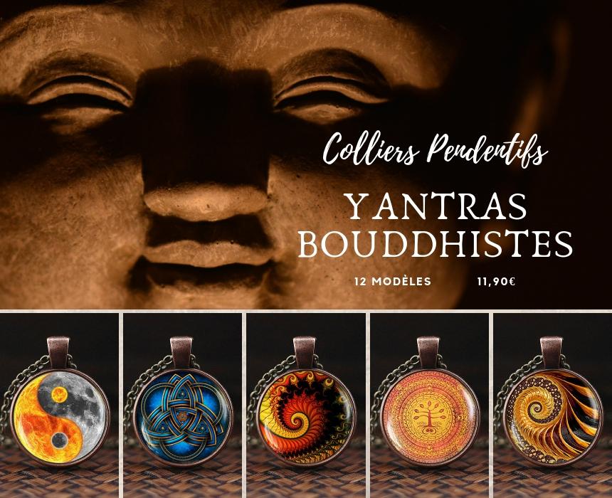 collier yantra buddha pendentifs médaillon bouddhisme