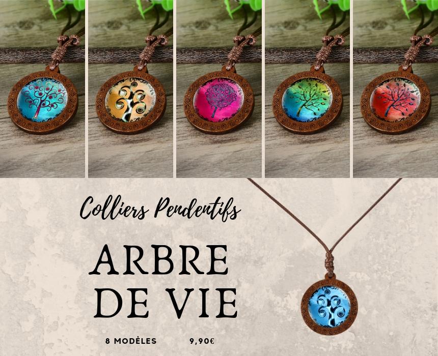 collier pendentif médaillon arbre de vie méditation