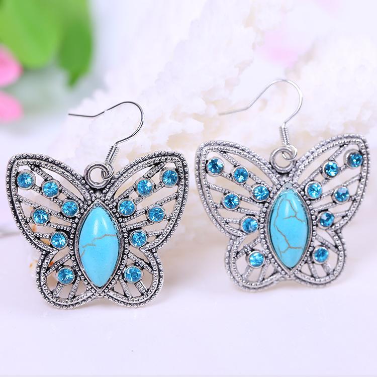 Boucles D\'oreille Papillon Turquoise