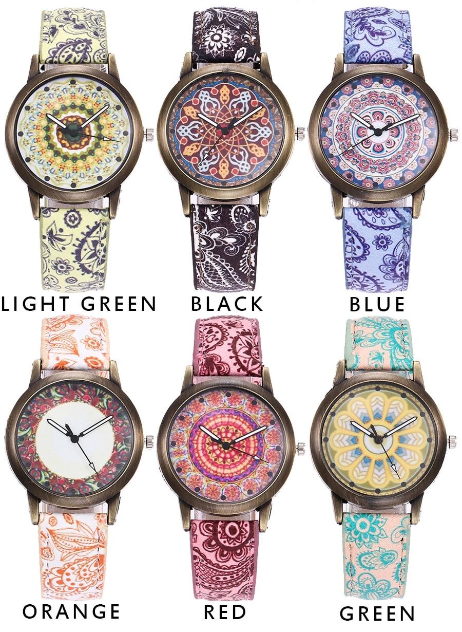montre à quartz pour femme fashion tendance mandala