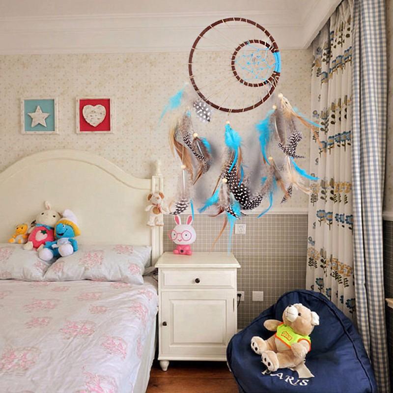attrape r ves bleu plumes dreamcatcher d co de chambre jardin zen. Black Bedroom Furniture Sets. Home Design Ideas