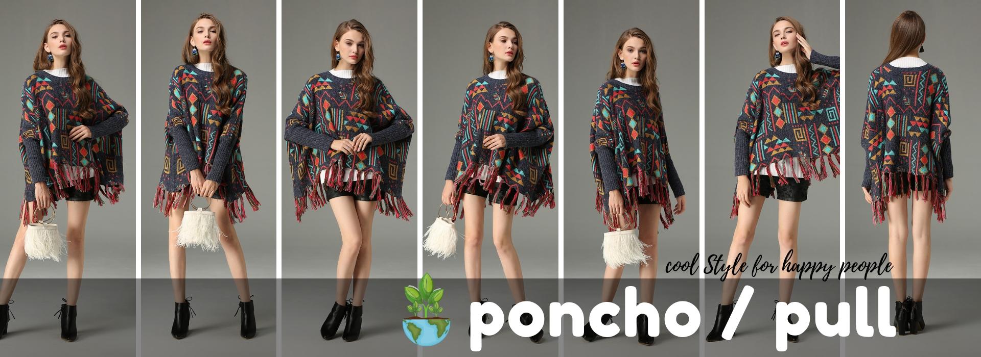 Poncho Pull Bohème Chic Ethnique