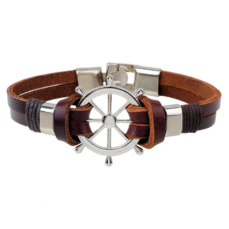 Bracelet Cuir marron Gouvernail