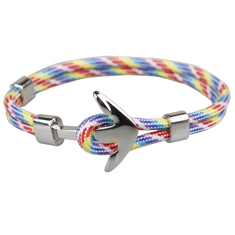 Bracelet Corde Navy Ancre rainbow