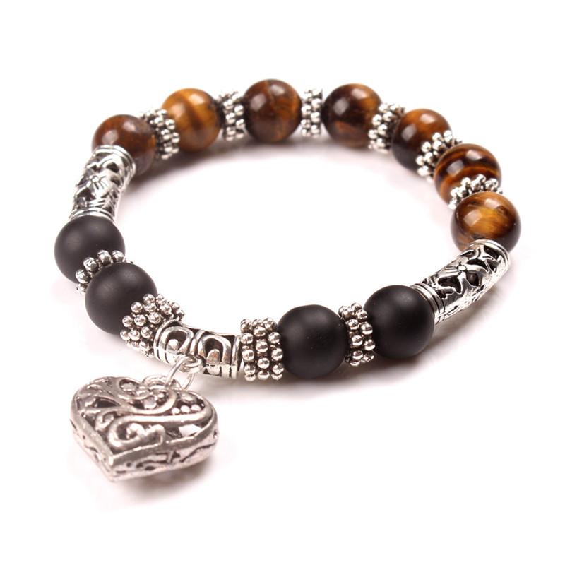 Bracelet pierres naturelles coeur marron