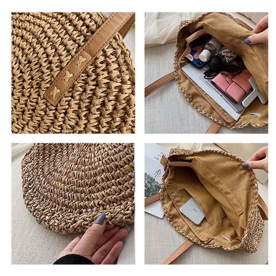 sac à main en paille et cuir