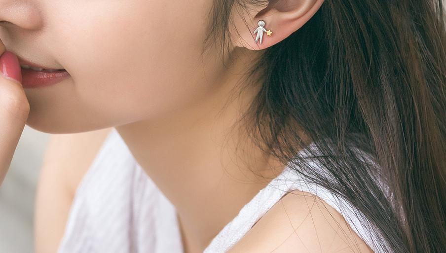 boucles d'oreille argent pur cadeau d'amour pour femme