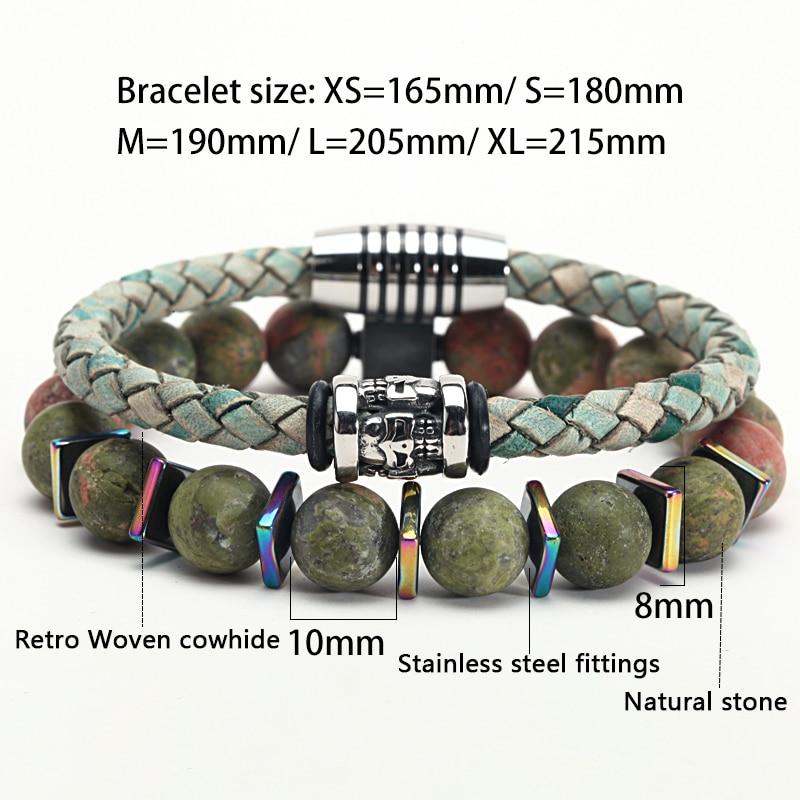 Bracelet luxe homme cuir pierre acier