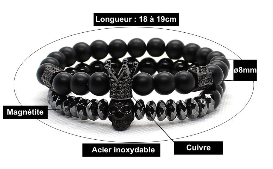 Bracelet Duo Crâne et Couronne