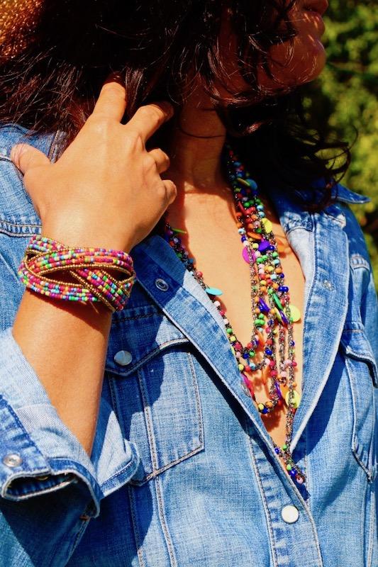 bracelet manchette femme perles de rocaille multicolore