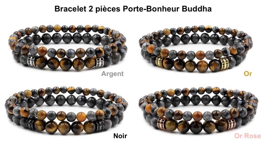 bracelet homme chic perles noires pierres cadeau masculin