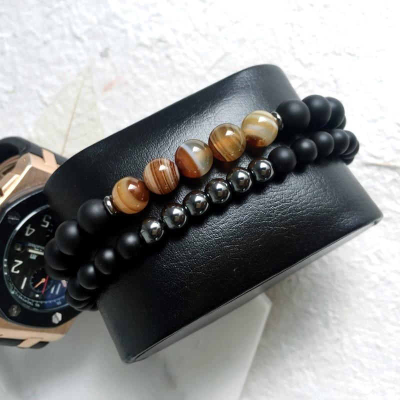bracelet homme perles noires pierres naturelles