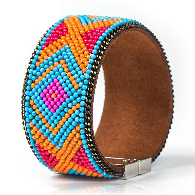 Bracelet cuir Mosaique Ethnique Turquoise