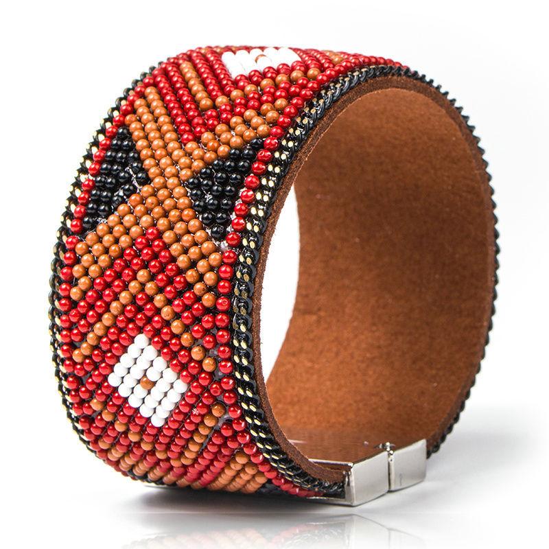 Bracelet cuir Mosaique Ethnique marron