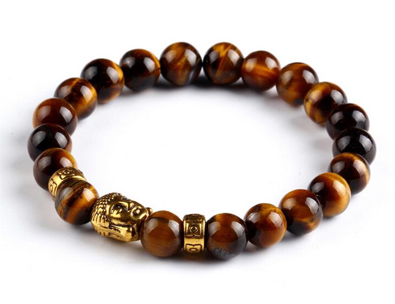 Bracelet de perles Buddha Marron