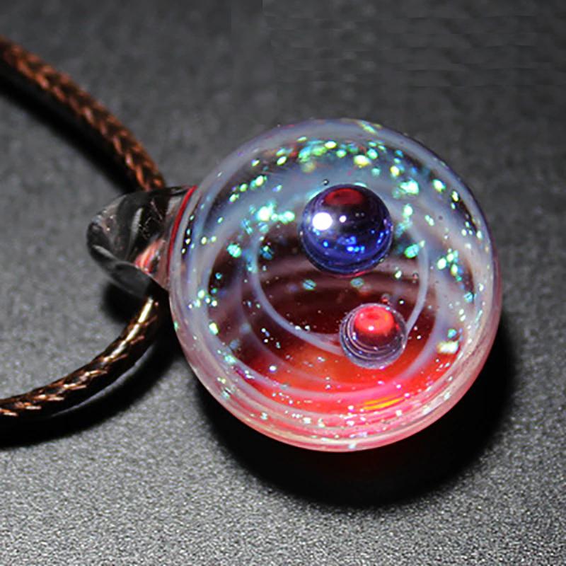 collier en verre soufflé pour femme Galaxie Étoile Espace