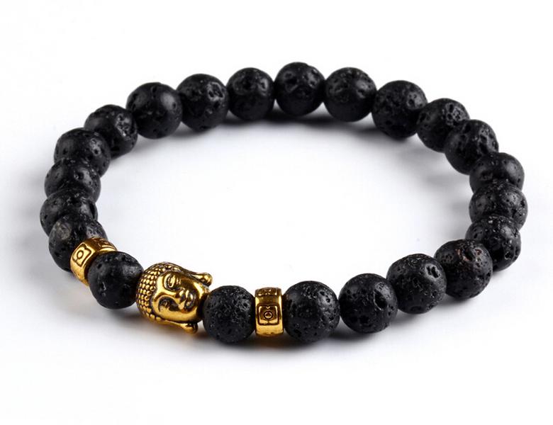 Bracelet de perles Buddha Lava