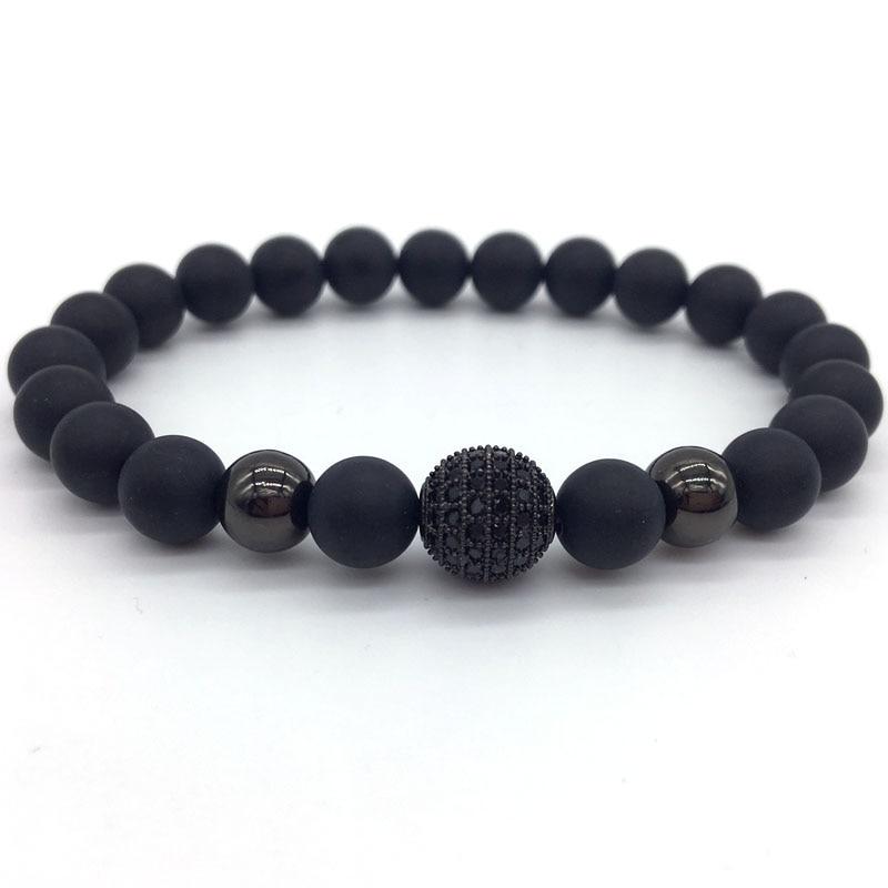 bracelet en perles noires homme pierres naturelles