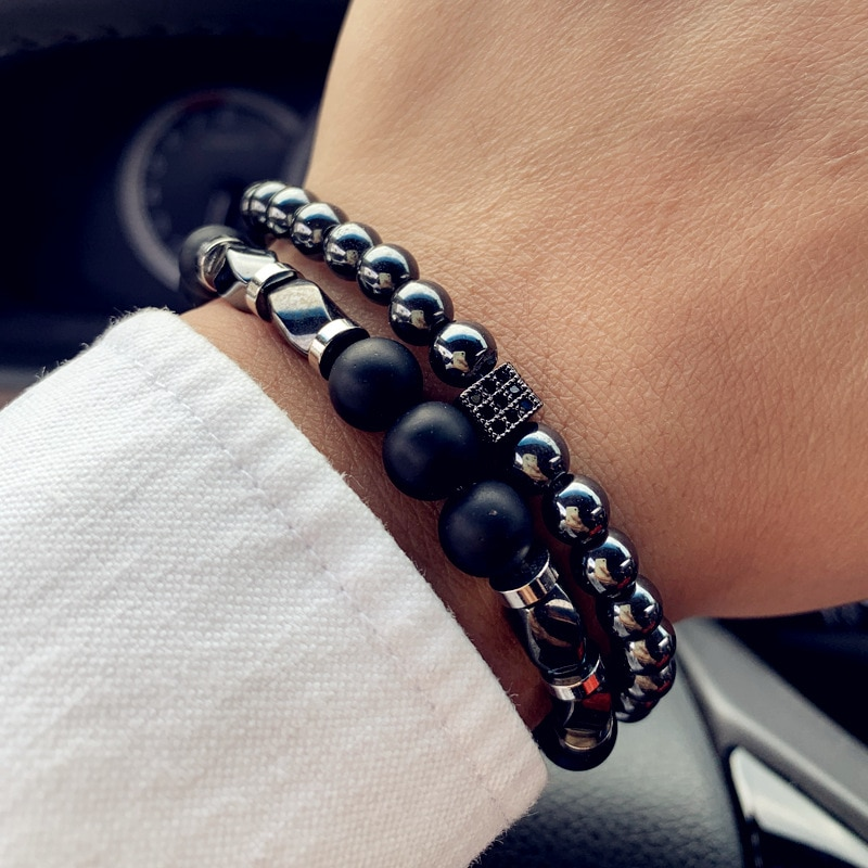Bracelet Homme Perles en Pierres