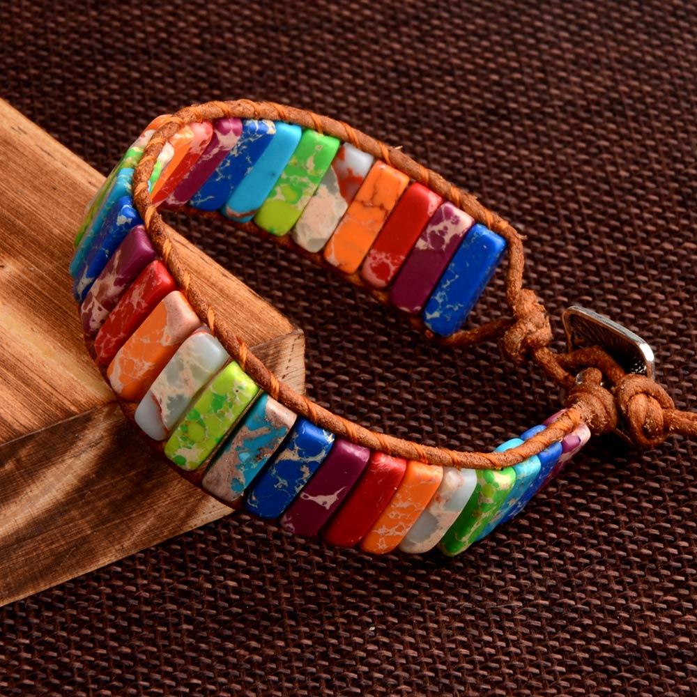 Bracelets Chakras en Pierres Naturelles de Jaspe imperial