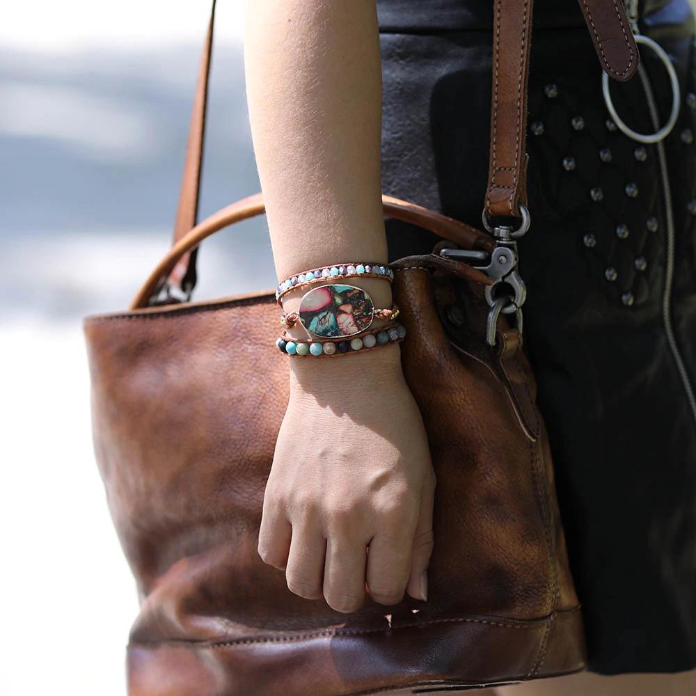 bracelet en perles femme pierres de Jaspe naturelles