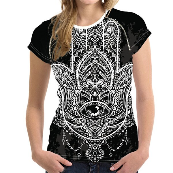 T-Shirt Femme Hamsa Energy BlacknWhite