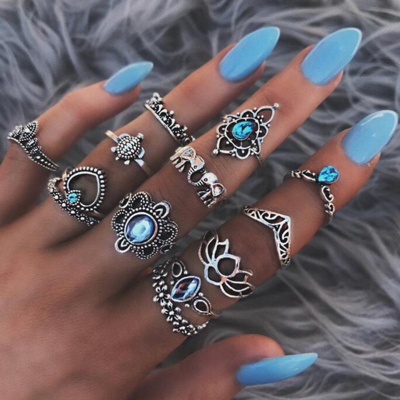 Lot de 13 Bagues Fleur Bleue Femme Look Vintage Boho-chic