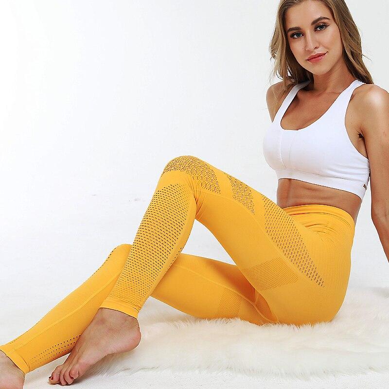 Pantalons Leggings jaune Sport Femme
