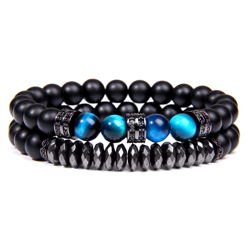 Bracelet Duo Hematite Oeil de Tigre bleu