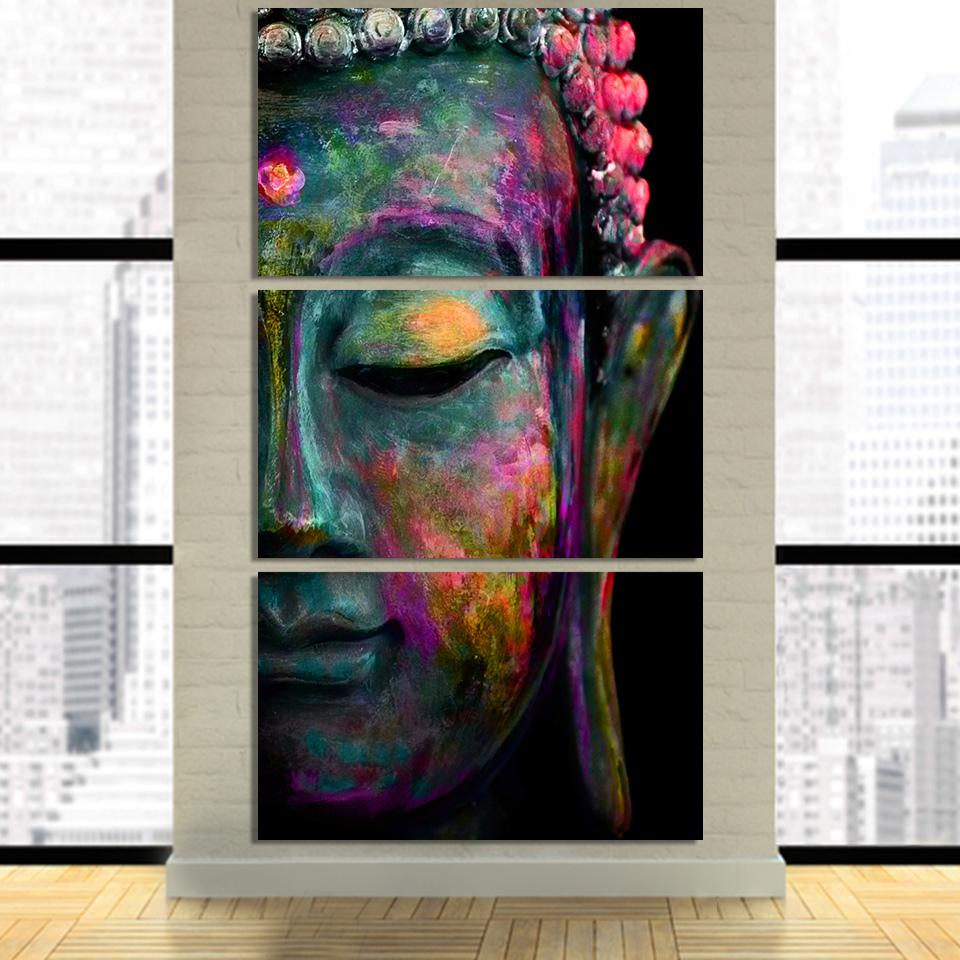 Tableau Toile 3 pièces Bouddha Multicolore 2