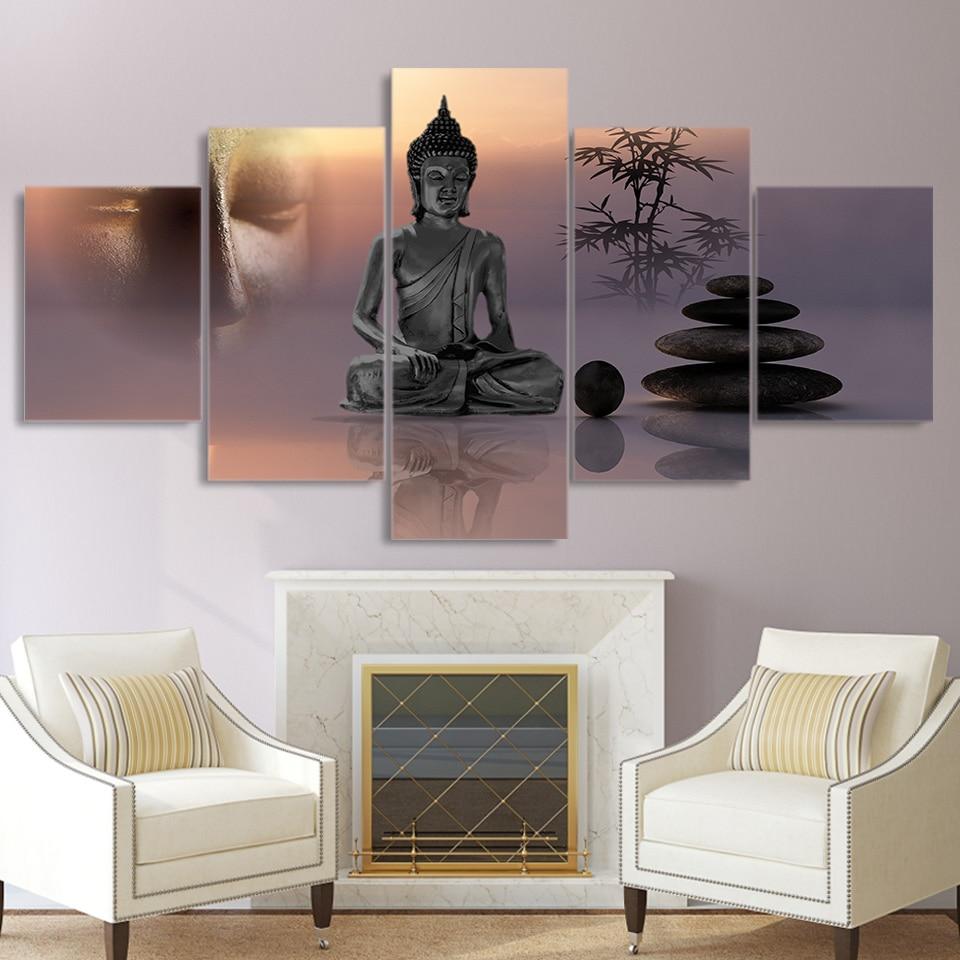 Tableau Toile 5 pièces Buddha Meditation