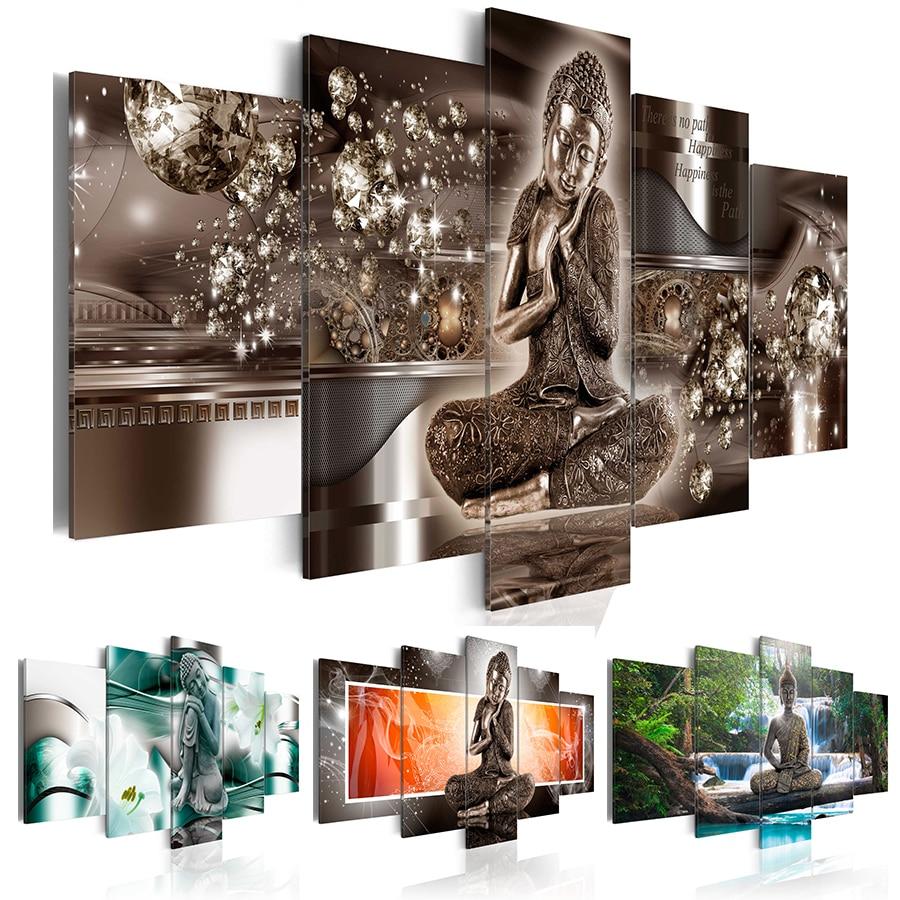 Tableau Toile 5 pièces Buddha Style sans cadre
